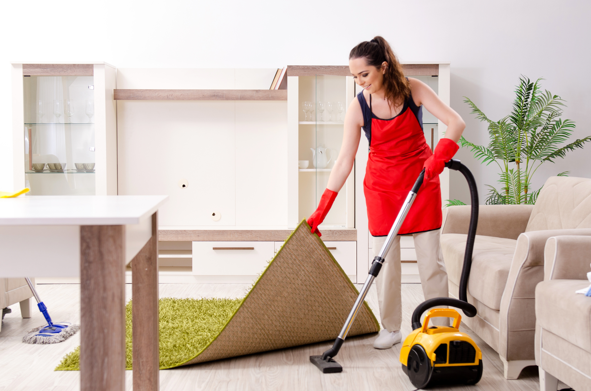 Young beautiful woman cleaning apartment